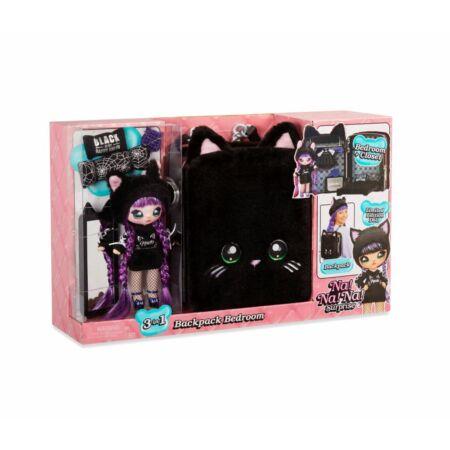 Na! Na! Na! Surprise Tuesday Meow 3az1-ben hálószoba játékszett hátizsákban (Fekete Macska)