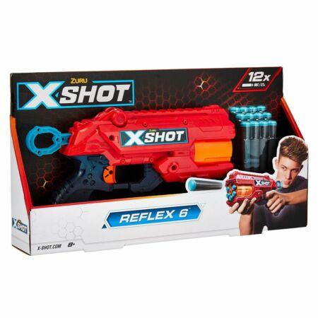 X-Shot Excel Reflex 6 lövetű szivacslövő fegyver, célpont dobozzal