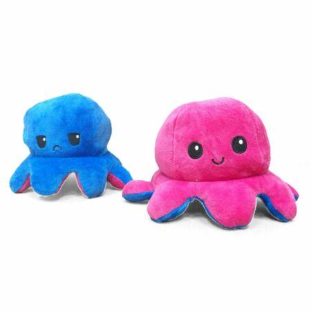 Kifordítható plüss polip pink-kék színben
