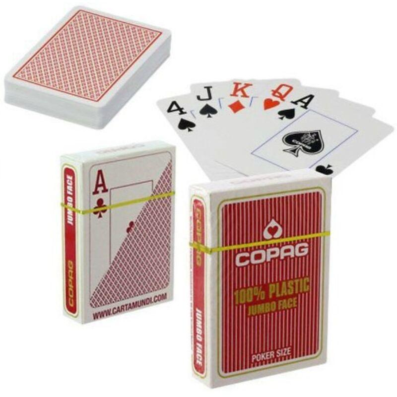 COPAG póker kártya 100% plastic, Jumbo Index 55 lap piros