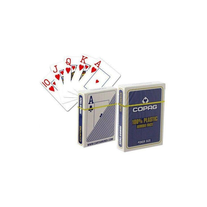 COPAG póker kártya 100% plastic, Jumbo Index 55 lap kék
