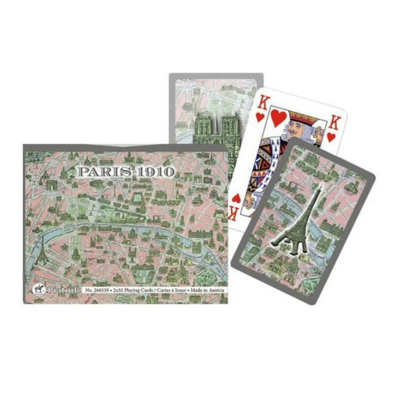 Párizs térképe 1910 2x55 lapos luxus römi kártya