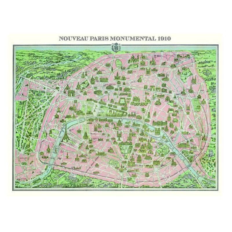 Paris map 1910 puzzle, 1000 darabos - Piatnik