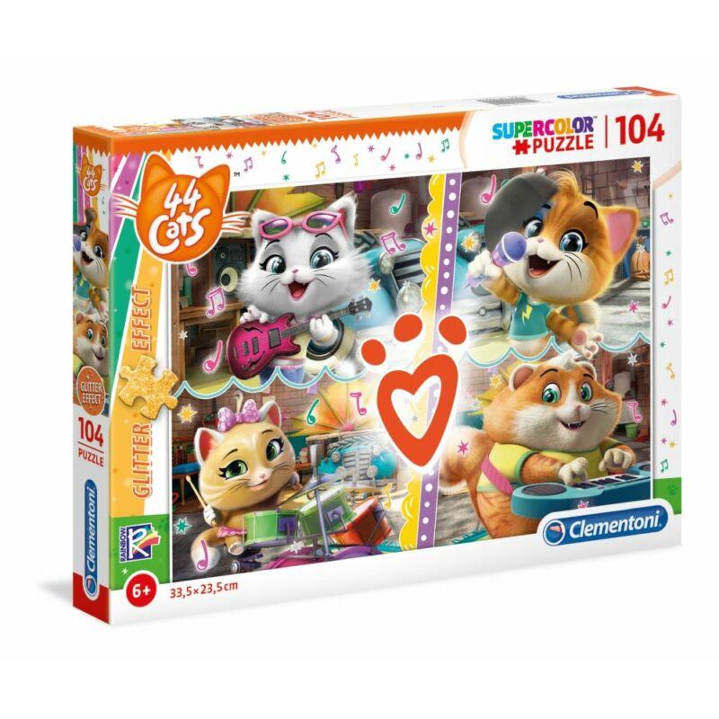 44 csacska macska csillámos 104 db-os puzzle - Clementoni