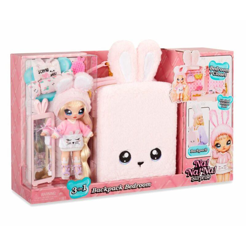 Na! Na! Na! Surprise Aubrey Heart 3az1-ben hálószoba játékszett hátizsákban (Rózsaszín Nyuszi)
