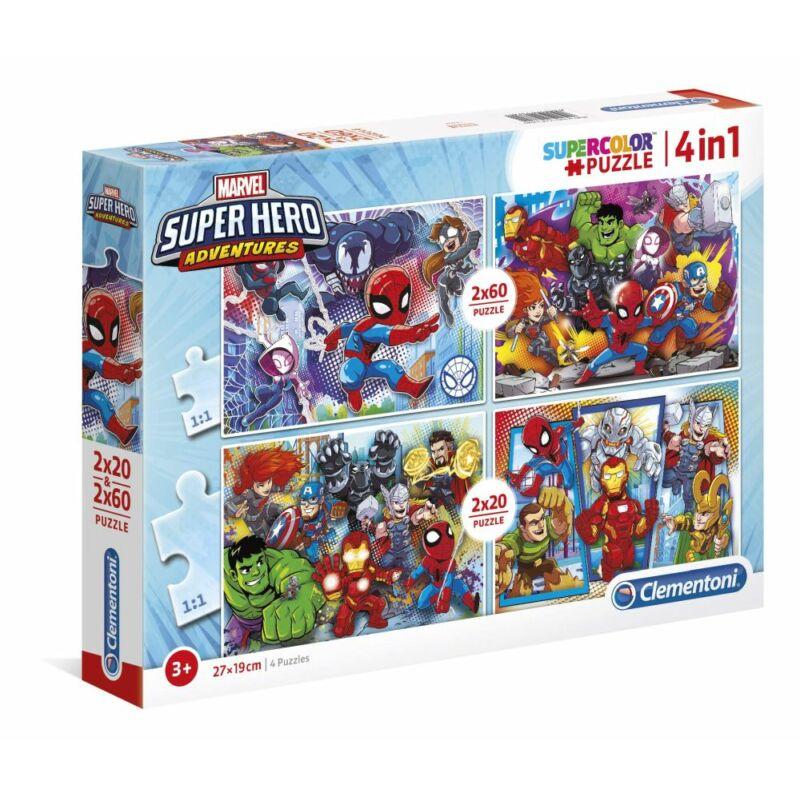 Szuperhős 2x20 és 2x60 db-os puzzle - Clementoni