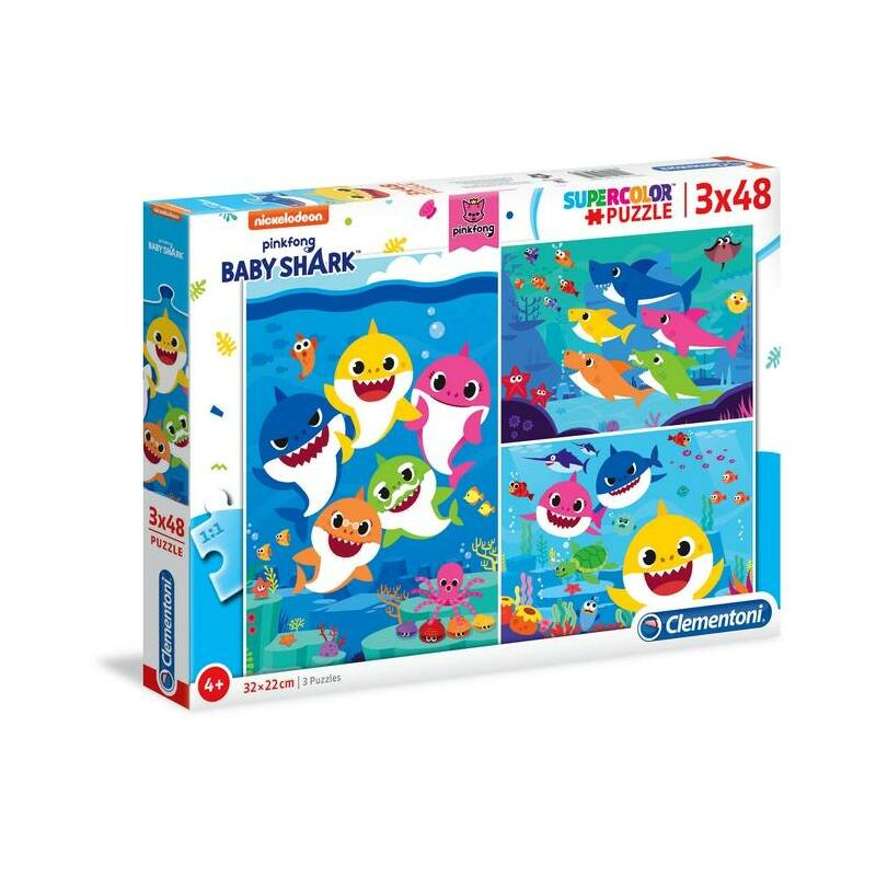 Baby Shark 3x48 db-os puzzle - Clementoni