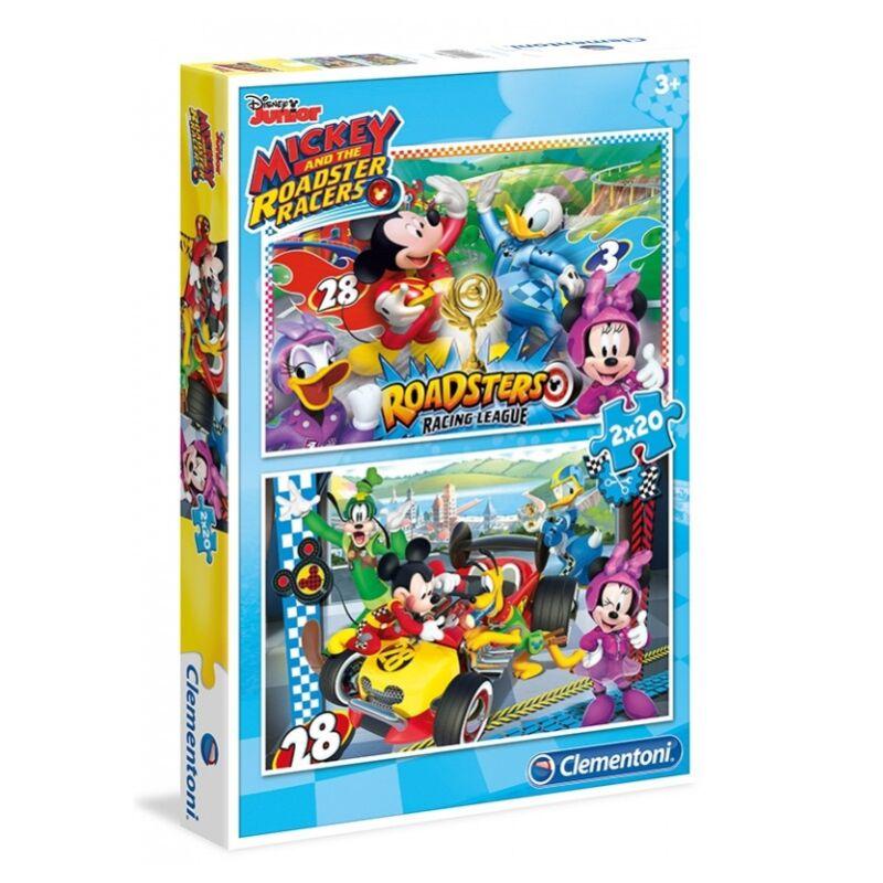 Mickey és az autóversenyzők 2 x 20 db-os puzzle - Clementoni