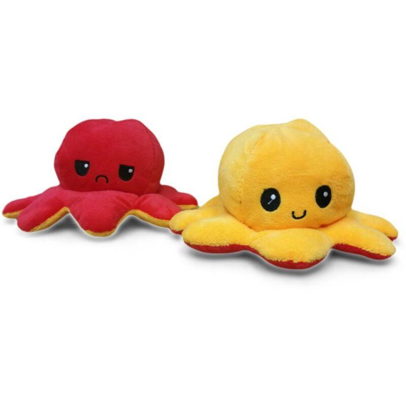 Kifordítható plüss polip piros-sárga színben